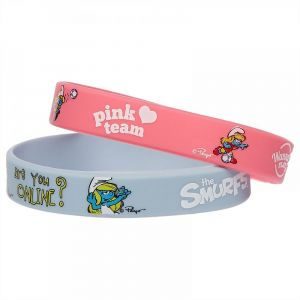 Smurfs Pink Silicone Bracelet 2pcs