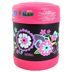 Thermos Funtainer Stainlless Steel Food Jar 290ml Black Floral