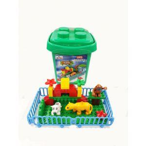 Jawda Zoo Park Building Block Set in Plastic Bucket 23pcs