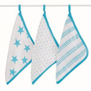 Aden + Anais Washcloth Set - Fluro Blue