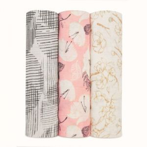 Aden + Anais Silky Soft 3-Pack Swaddles Pretty Petals
