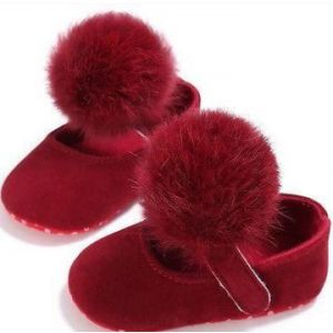 Adorable Fur Ball Moccasins Wine Red