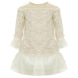 Baby Doll - Ivory Embroider Short Dress With Sequence