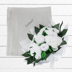 Baby Blooms Luxury Bouquet and Personalised Baby Blanket, White