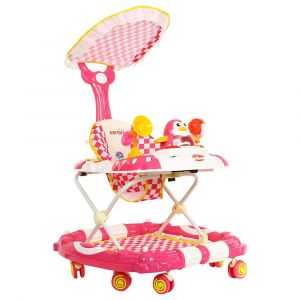 Baby Plus Pink Checkered Baby Walker with Reversible Canopy