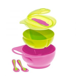Brother Max Easy-Hold Weaning Bowl Set - Pink/Green