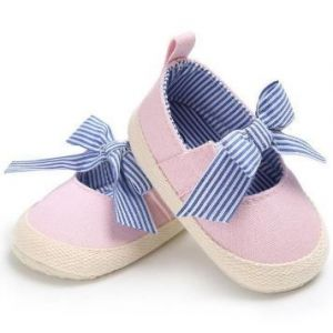 Cute Striped Bowknot Pre Walkers Pink