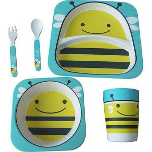 Eazy Kids Bamboo Fibre Dinner Set - Bee - 5 Pieces