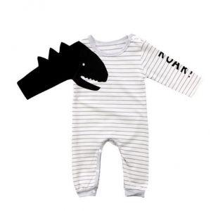 Fashion Dinosaur Striped Jumpsuit