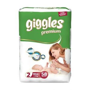 Giggles Baby Diaper Size 2 (3-6 kg) - 58Pcs