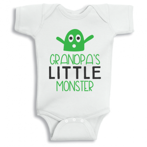 Twinkle Hands Grandpa's little monster Baby Onesie, Bodysuit, Romper