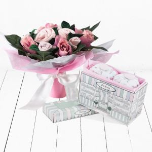 Baby Blooms Hand Tied Bouquet with Pyjama Cupcakes - Pink