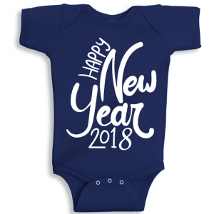 Twinkle Hands Happy New Year 2018, Dark Blue Baby Onesie, Bodysuit, Romper