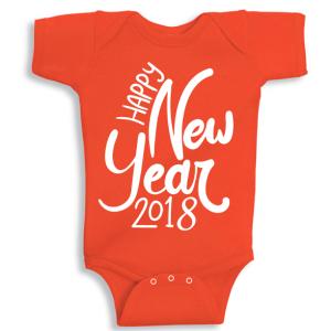 Twinkle Hands Happy New Year 2018, Orange Baby Onesie, Bodysuit, Romper