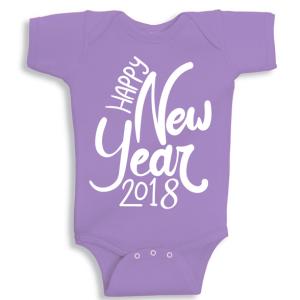 Twinkle Hands Happy New Year 2018, Purple Baby Onesie, Bodysuit, Romper