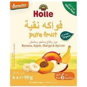 Holle Multi-pack Pouch Banana, Apple, Mango & Apricot - 90g x 4pcs