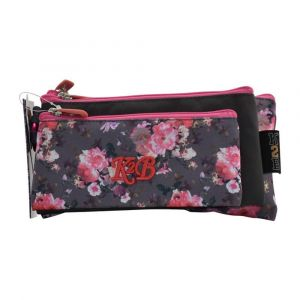 K2B Tripple Pink Flower Pencil Case