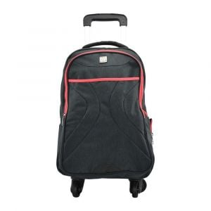 Kingwang-Italy 4 Wheel Black and Red Trolley Bag