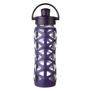 Lifefactory 22 Oz Glass Water Bottle with Active Flip Cap - Aubergine