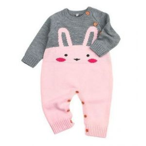 Lovely Knitted Bunny Jumpsuit Pink