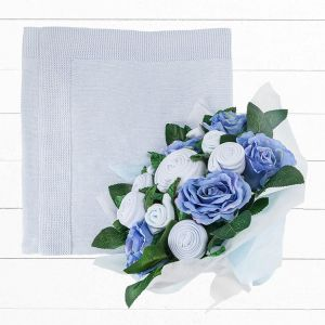 Baby Blooms Luxury Bouquet and Baby Blanket - Blue