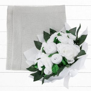 Baby Blooms Luxury Bouquet and Baby Blanket - Grey