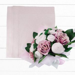 Baby Blooms Luxury Bouquet and Baby Blanket - Pink