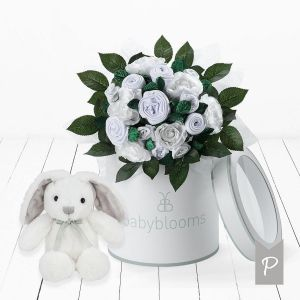 Baby Blooms Luxury Bouquet and Bunny - White