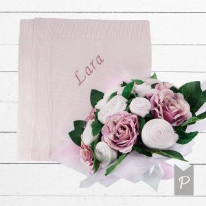 Baby Blooms Luxury Bouquet and Personalised Baby Blanket, Pink