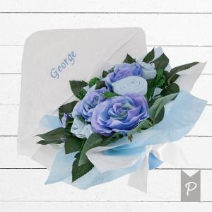 Baby Blooms Luxury Bouquet and Personalised Baby Towel- Blue