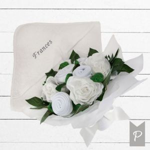 Baby Blooms Luxury Bouquet and Personalised Baby Towel- White