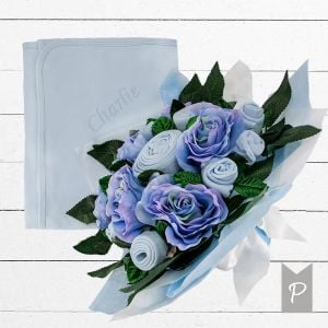 Baby Blooms Luxury Bouquet and Personalised Snuggle Wrap - Blue