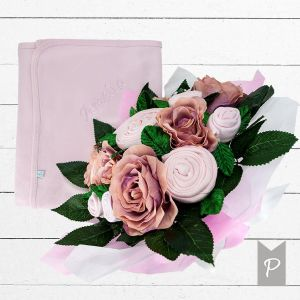 Baby Blooms Luxury Bouquet and Personalised Snuggle Wrap - Pink