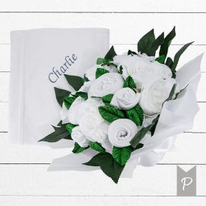 Baby Blooms Luxury Bouquet and Personalised Snuggle Wrap - White