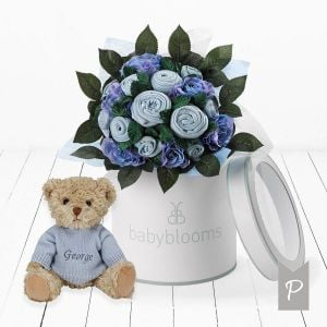 Baby Blooms Luxury Bouquet and Personalised Teddy Bear - Blue