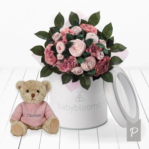 Baby Blooms Luxury Bouquet and Personalised Teddy Bear - Pink