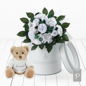 Baby Blooms Luxury Bouquet and Personalised Teddy Bear -White