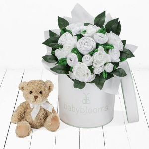 Baby Blooms Luxury Bouquet and Teddy Bear - White