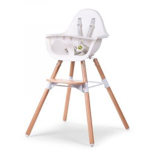 Childhome Natural / White Evolu2 High Chair with Bumper