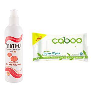 Mini U Innocence Hair & Body Wash 250ml + Free Caboo Travel Wipes 10ct