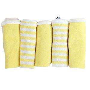 My Milestones Lemon Yellow 100% Premium Cotton Terry Baby Washcloth Set - 5pc