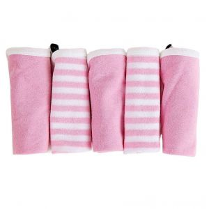 My Milestones Pink 100% Premium Cotton Terry Baby Washcloth Set - 5pc