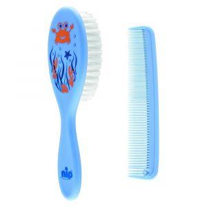 Nip Hair Care Set - Comb & Brush - Blue