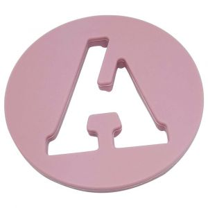 One.Chew.Three Alphabet Chews Silicone Letter Teething Disc A - Pink