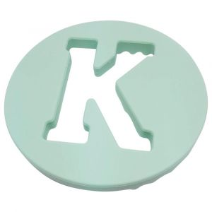 One.Chew.Three Alphabet Chews Silicone Letter Teething Disc K - Mint