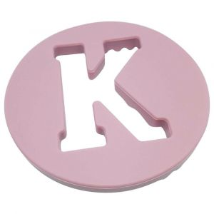 One.Chew.Three Alphabet Chews Silicone Letter Teething Disc K - Pink