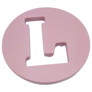 One.Chew.Three Alphabet Chews Silicone Letter Teething Disc L - Pink