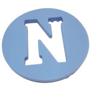 One.Chew.Three Alphabet Chews Silicone Letter Teething Disc N - Blue