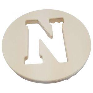 One.Chew.Three Alphabet Chews Silicone Letter Teething Disc N - Cream