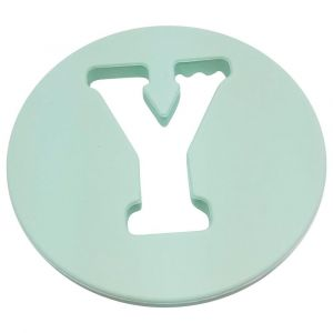 One.Chew.Three Alphabet Chews Silicone Letter Teething Disc Y - Mint